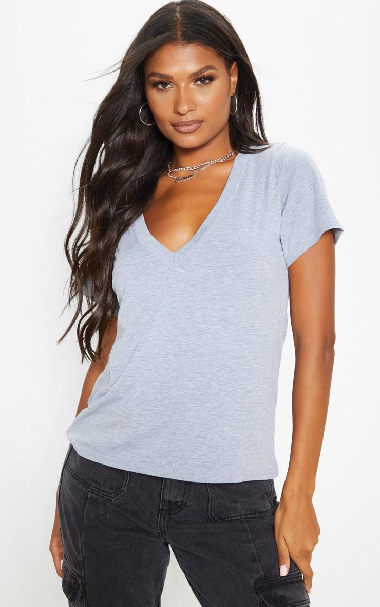 Basic Grey Marl Jersey V Plunge T Shirt 1