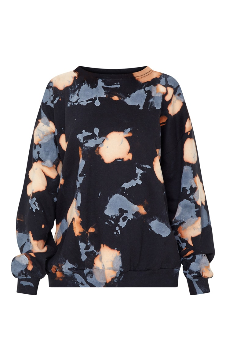 Black Paint Effect Oversized Sweater 3