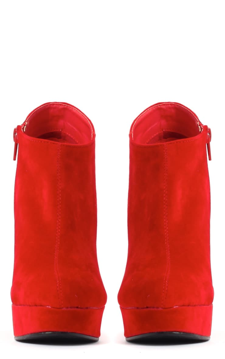 Cassie Red Wedge Boots 2