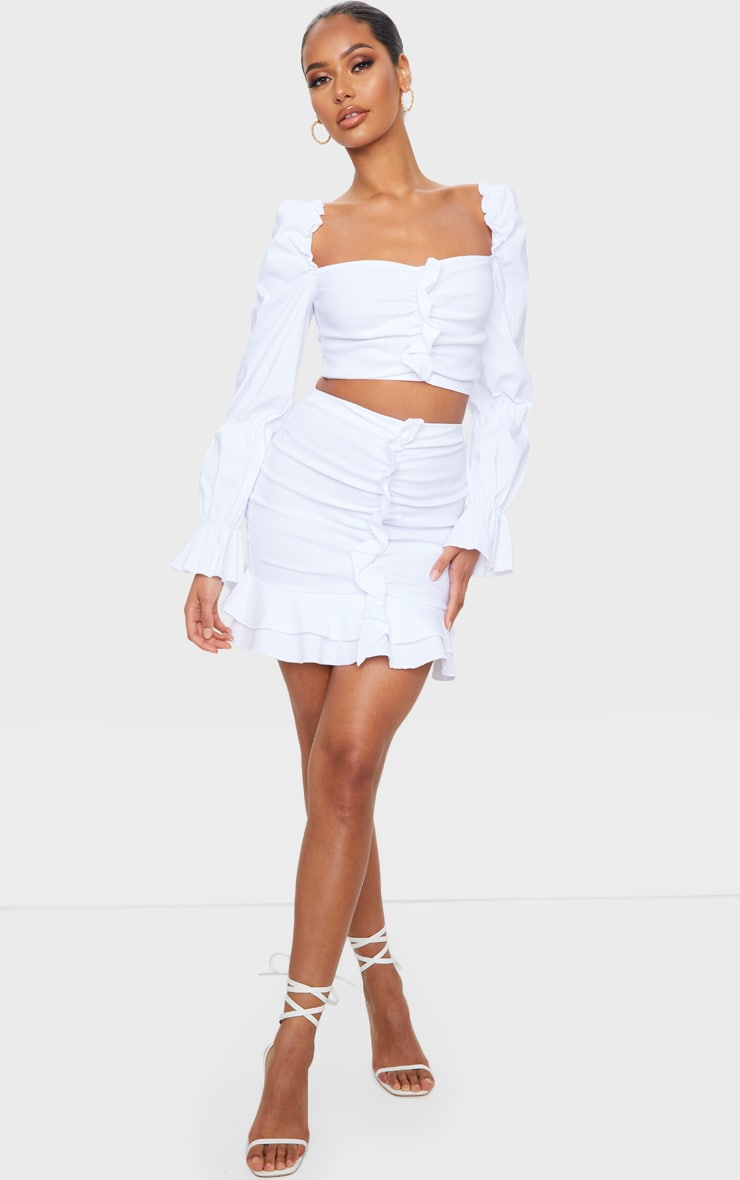 White Woven Stretch Frill Ruched Front Mini Skirt 1
