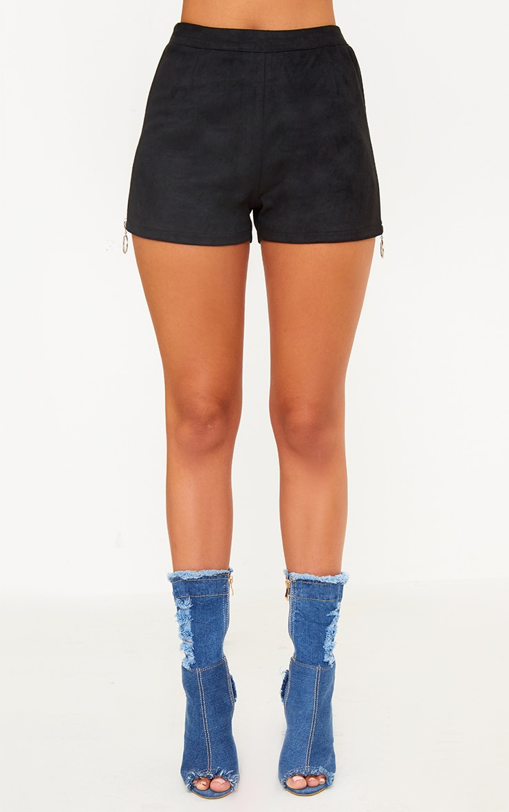 Black Faux Suede Ring Zip Shorts 2