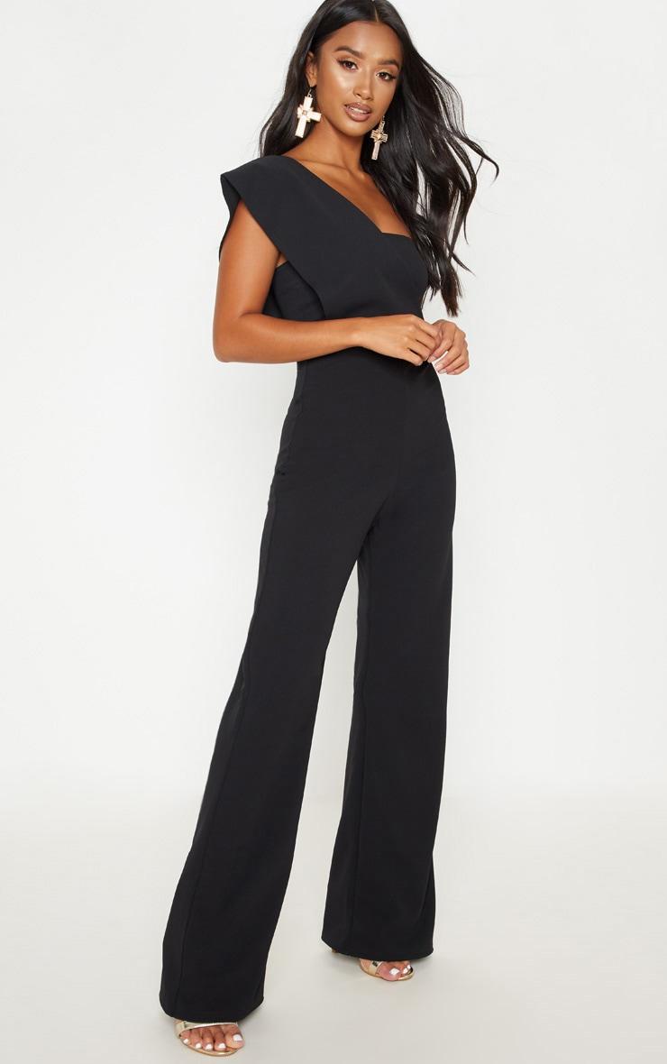 Petite Black Drape One Shoulder Jumpsuit 1