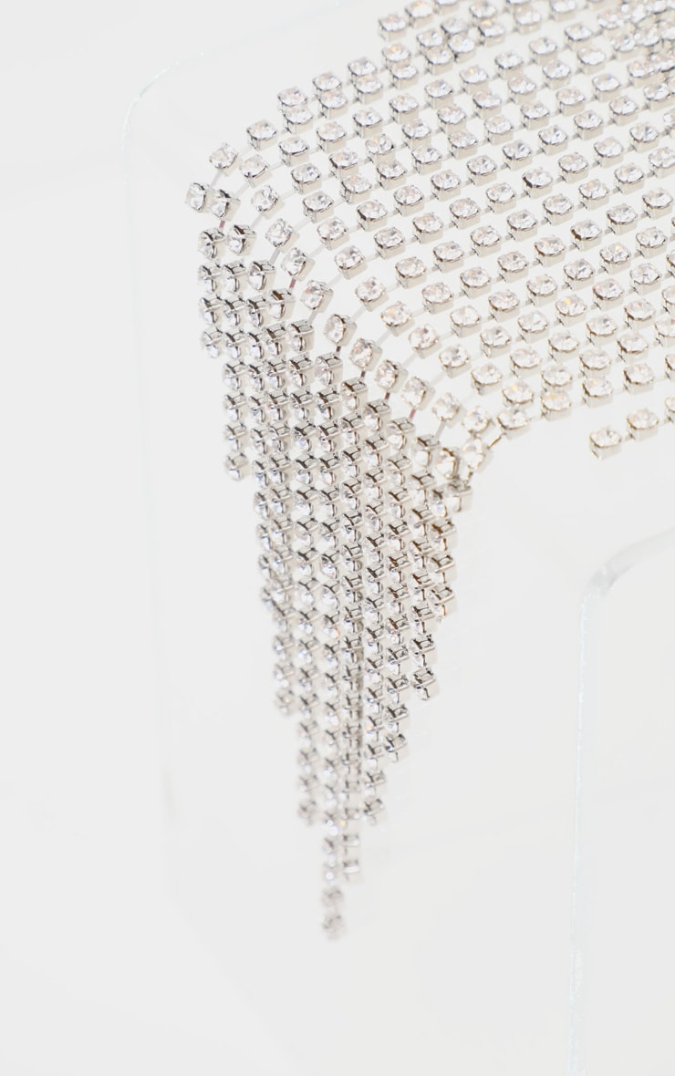 Silver Diamante Tassel Drop Thick Choker 4