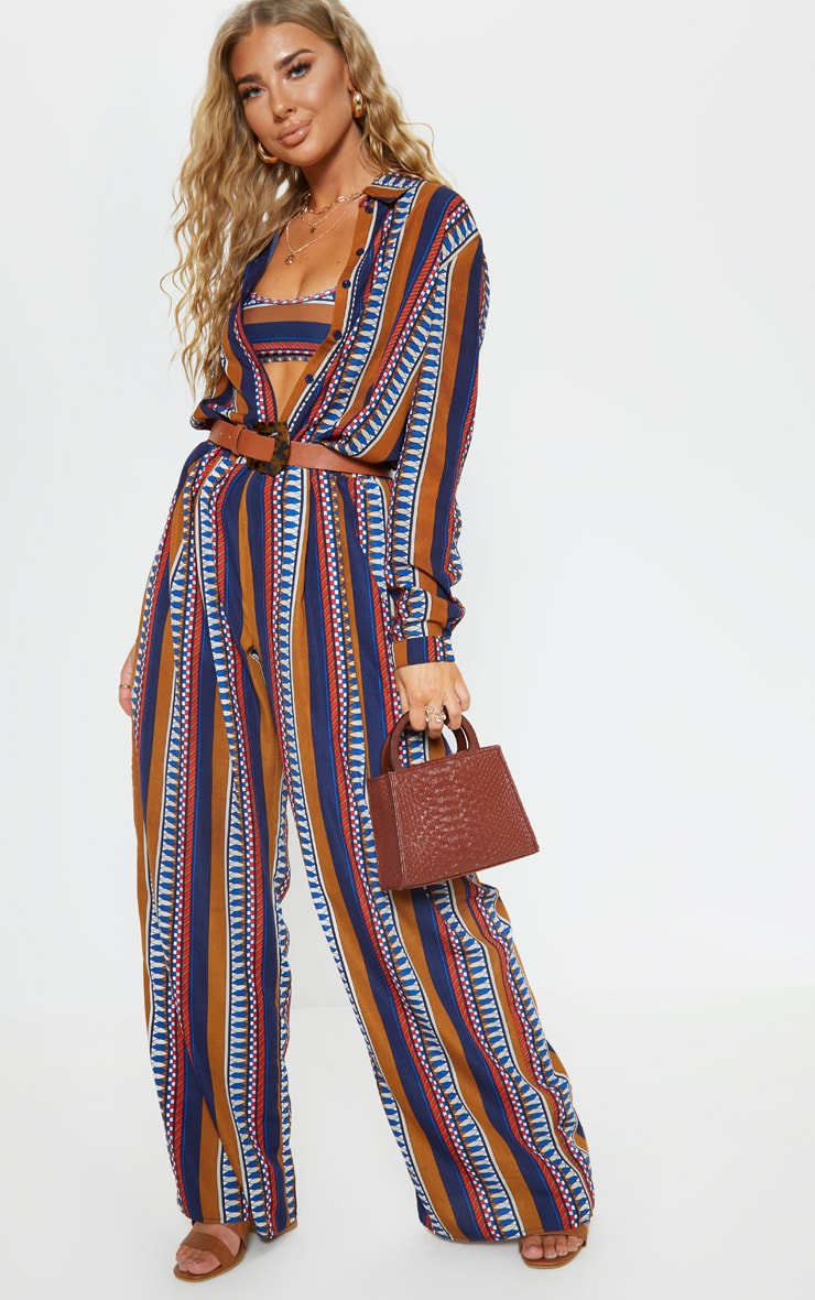 Brown Geo Stripe Wide Leg Beach Pant 1