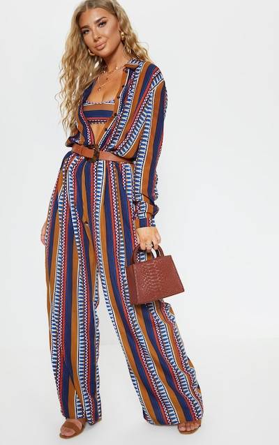 e96bbb1a60ee4 Brown Geo Stripe Wide Leg Beach Pant