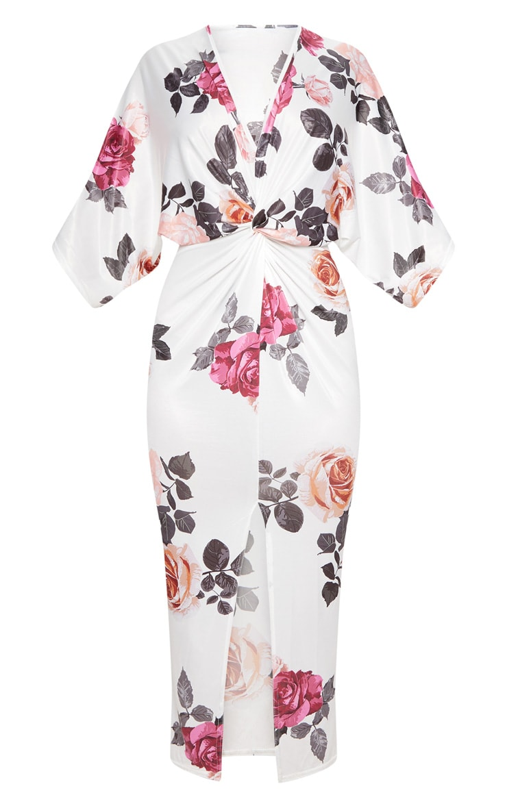 White Floral Print Twist Front Batwing Sleeve Midi Dress 3