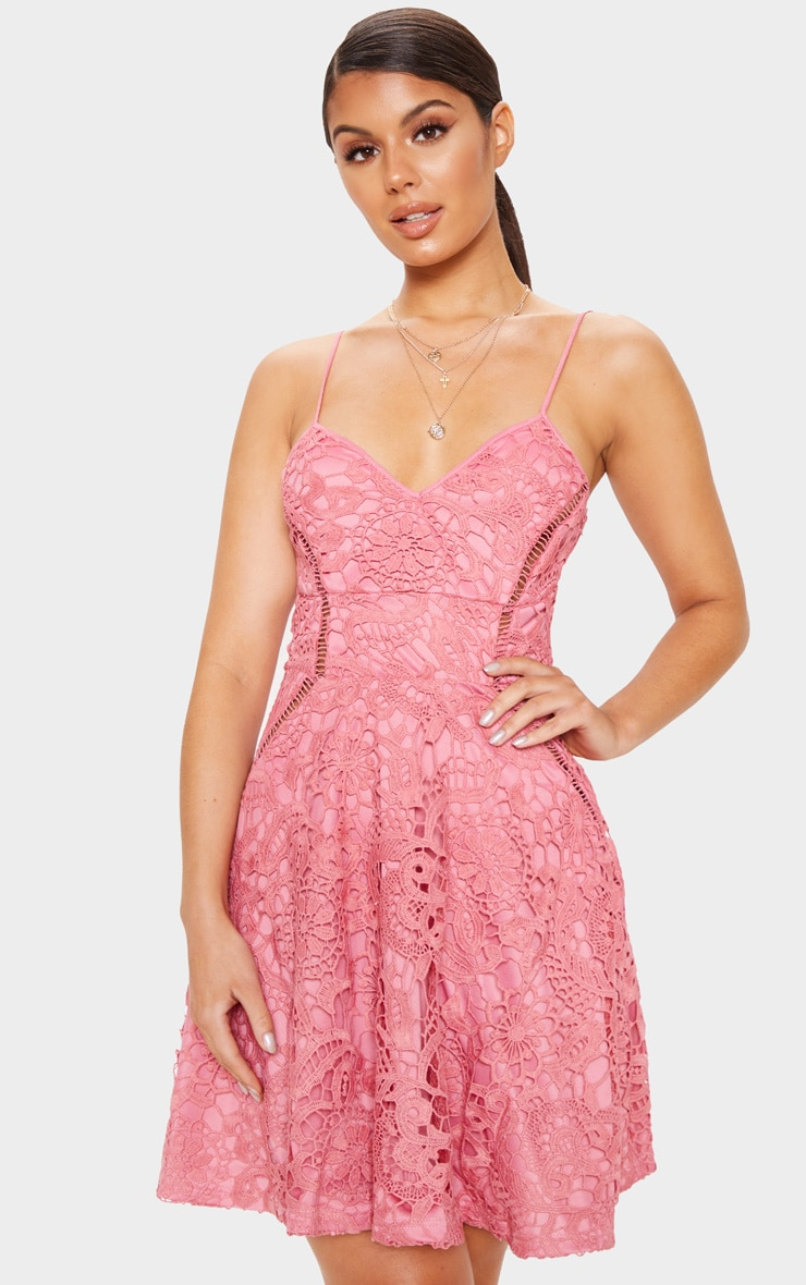 Rose Strappy Lace Cami Skater Dress 4