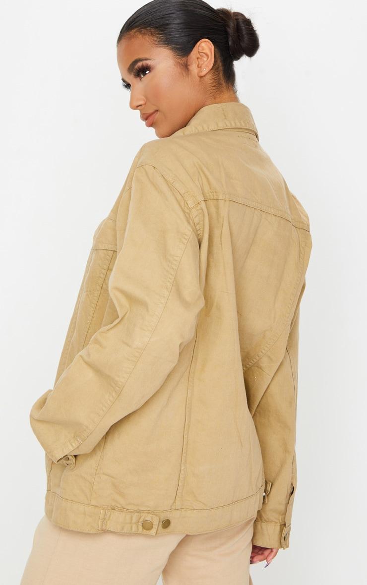 Stone Oversized Boyfriend Denim Jacket 2