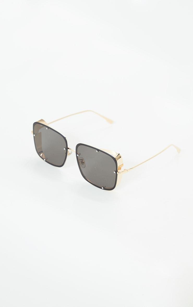 Black Oversized Square Lens Frameless Sunglasses 1