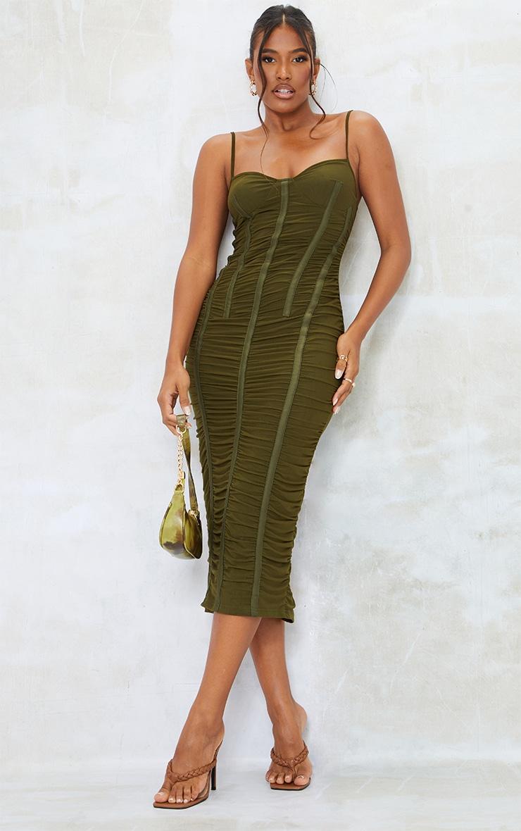 Khaki Strappy Mesh Ruched Satin Binded Midi Dress 1