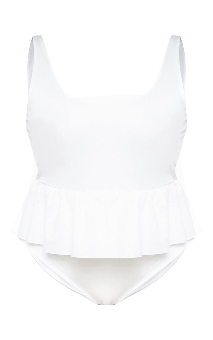 Plus White Frill Waist Swimsuit  3