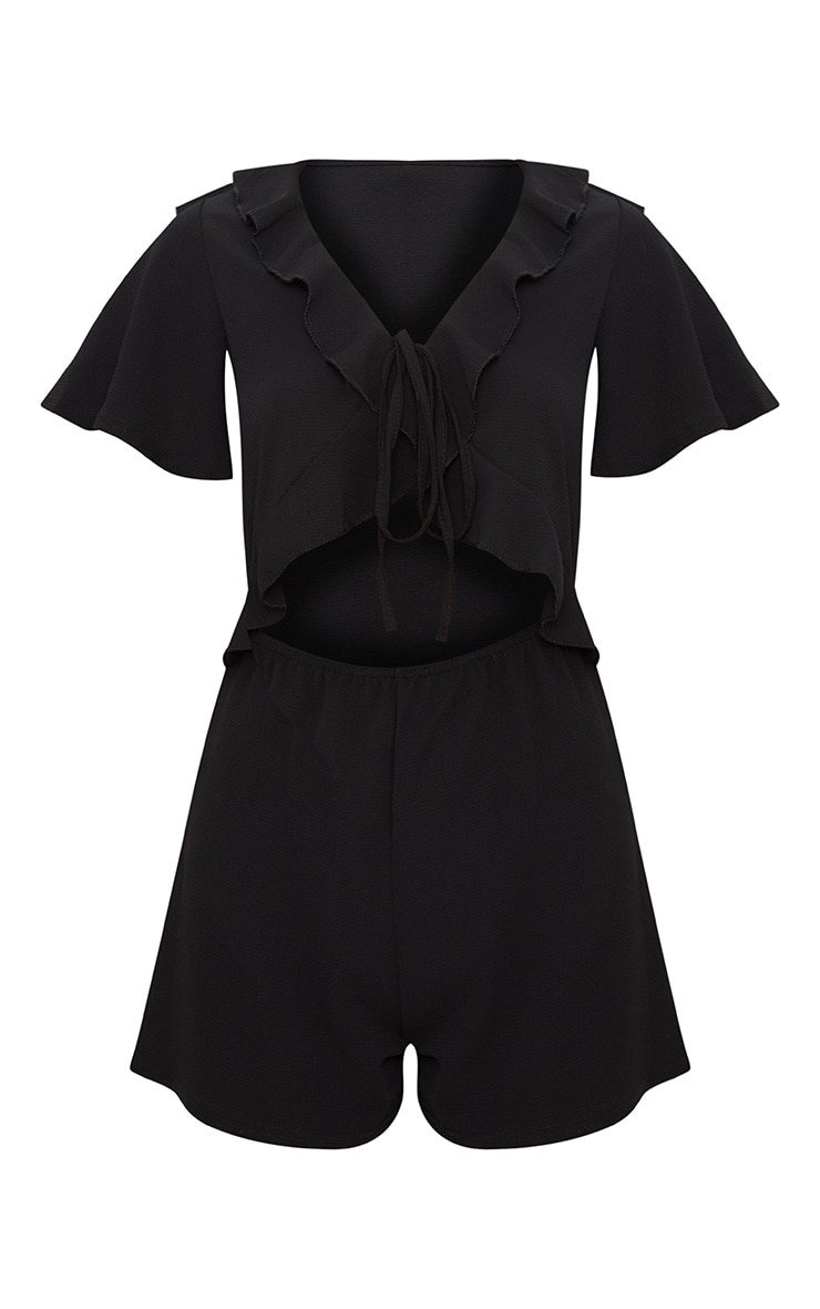 Black Short Sleeve Frill Tie Front Playsuit 3