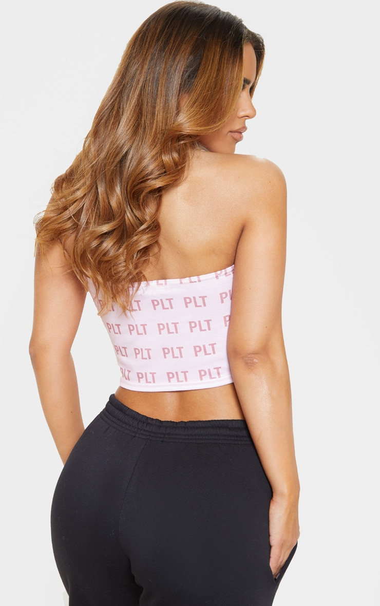 PRETTYLITTLETHING Pink Bandeau Crop Top 3