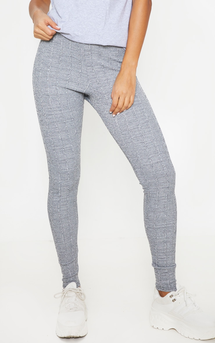 Grey Textured Marl Rib Leggings  2