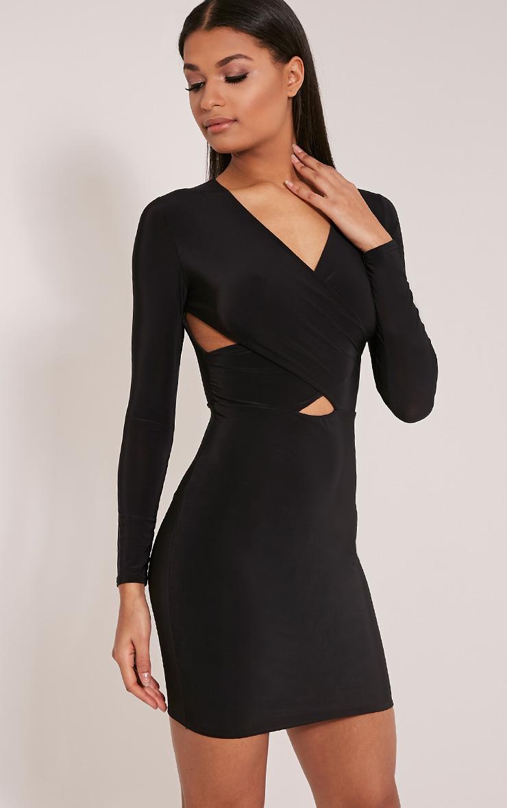 Tamaya robe moulante noire à manches courtes et devant croisé 1