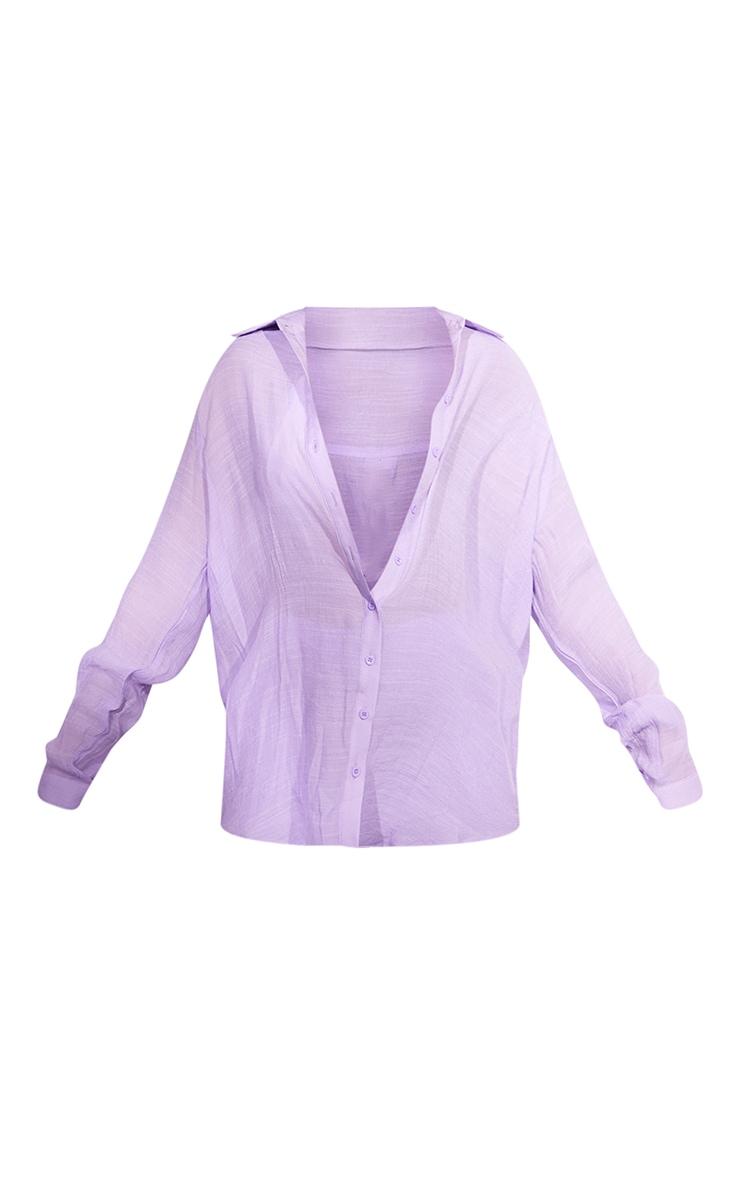 Lilac Linen Look Beach Shirt 5