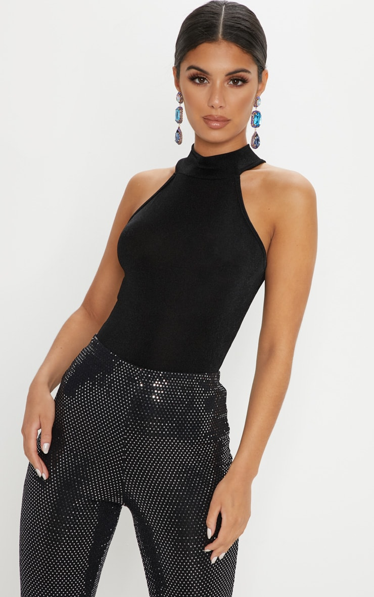 Black Glitter Fine Knit Roll Neck Sleeveless Top