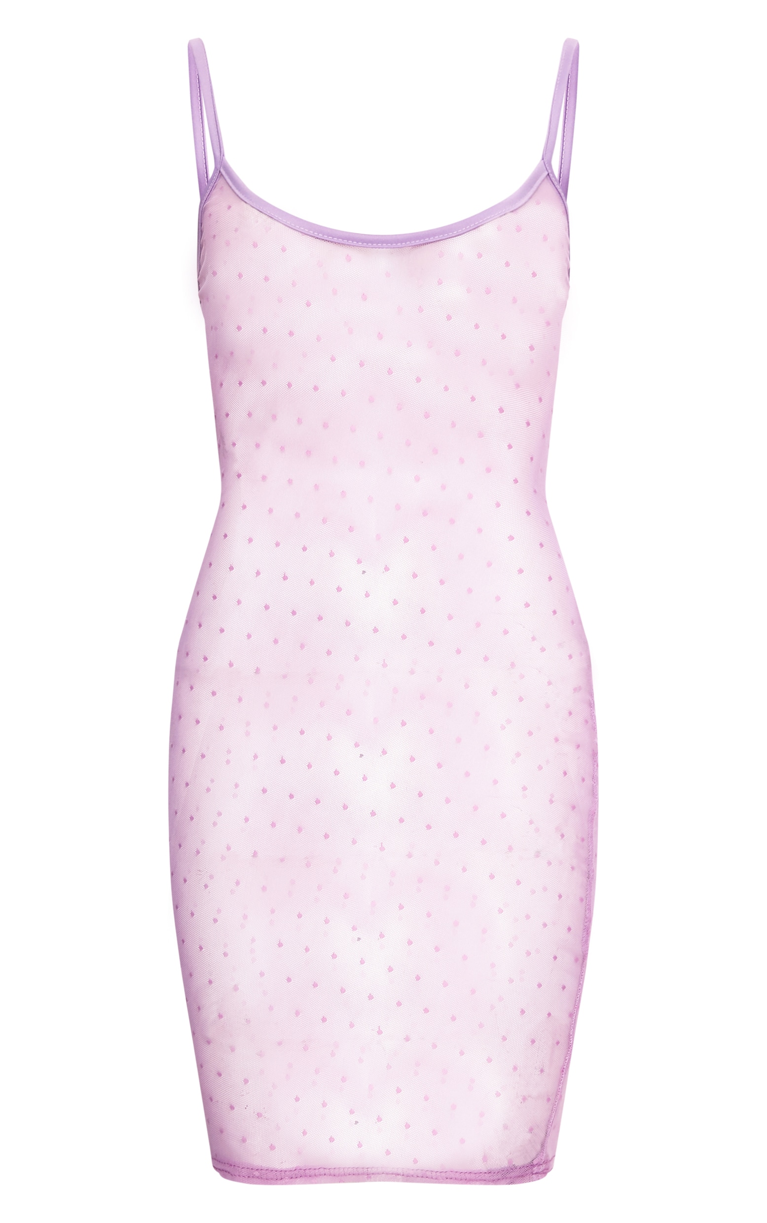 Clara Lilac Sheer Dobby Mesh Strappy Bodycon Dress 3