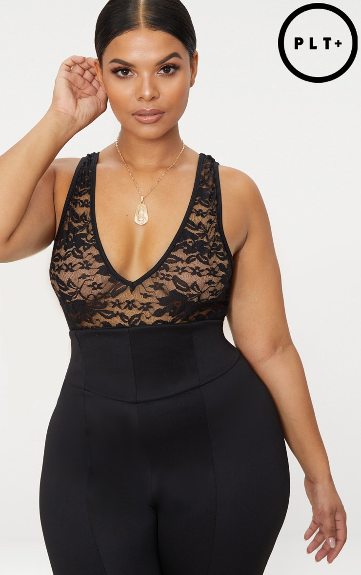 Plus Black Lace Plunge Bodysuit 1