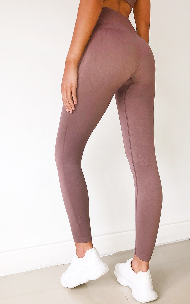 Mocha High Waist Seamless Gym Leggings 3