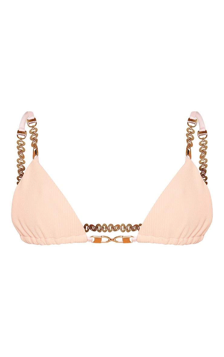 Peach Chain Trim Triangle Bikini Top 5
