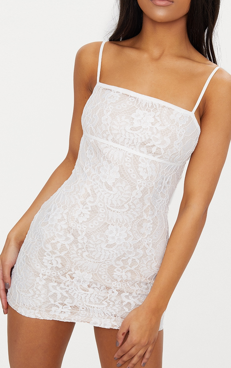White Lace Bodycon Dress With Nude Lining 4