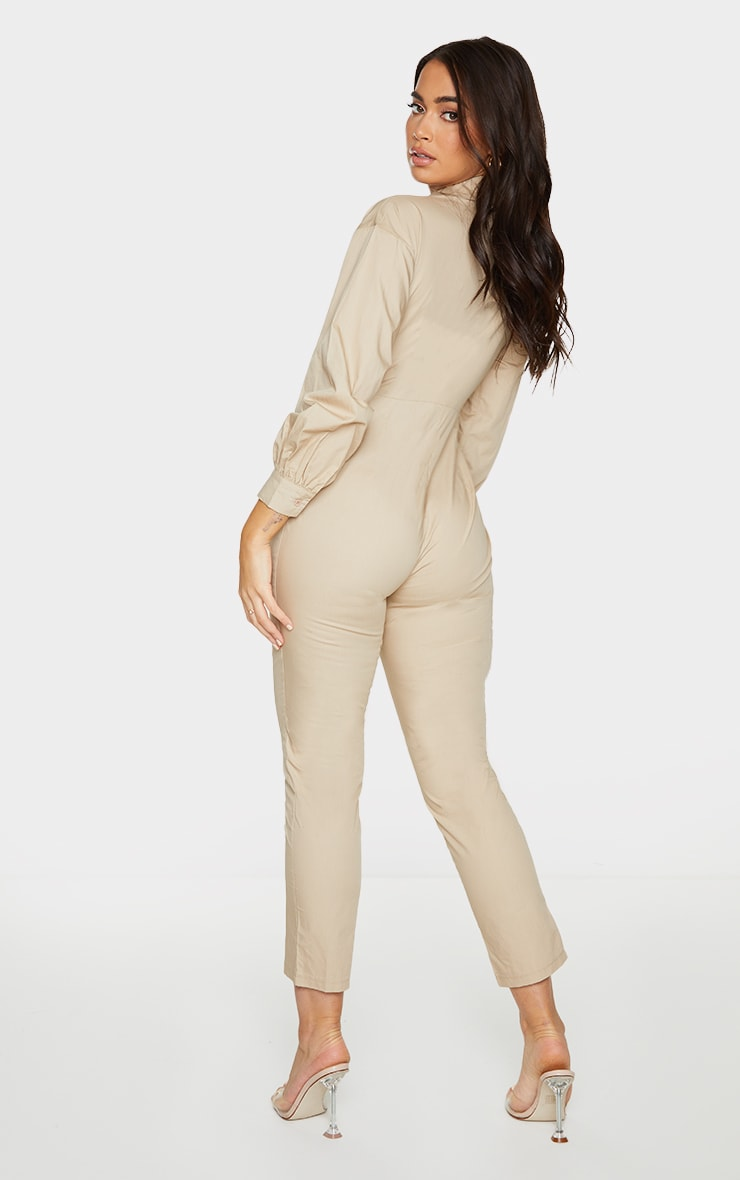 Stone Fitted Waist Shirt Jumpsuit 2