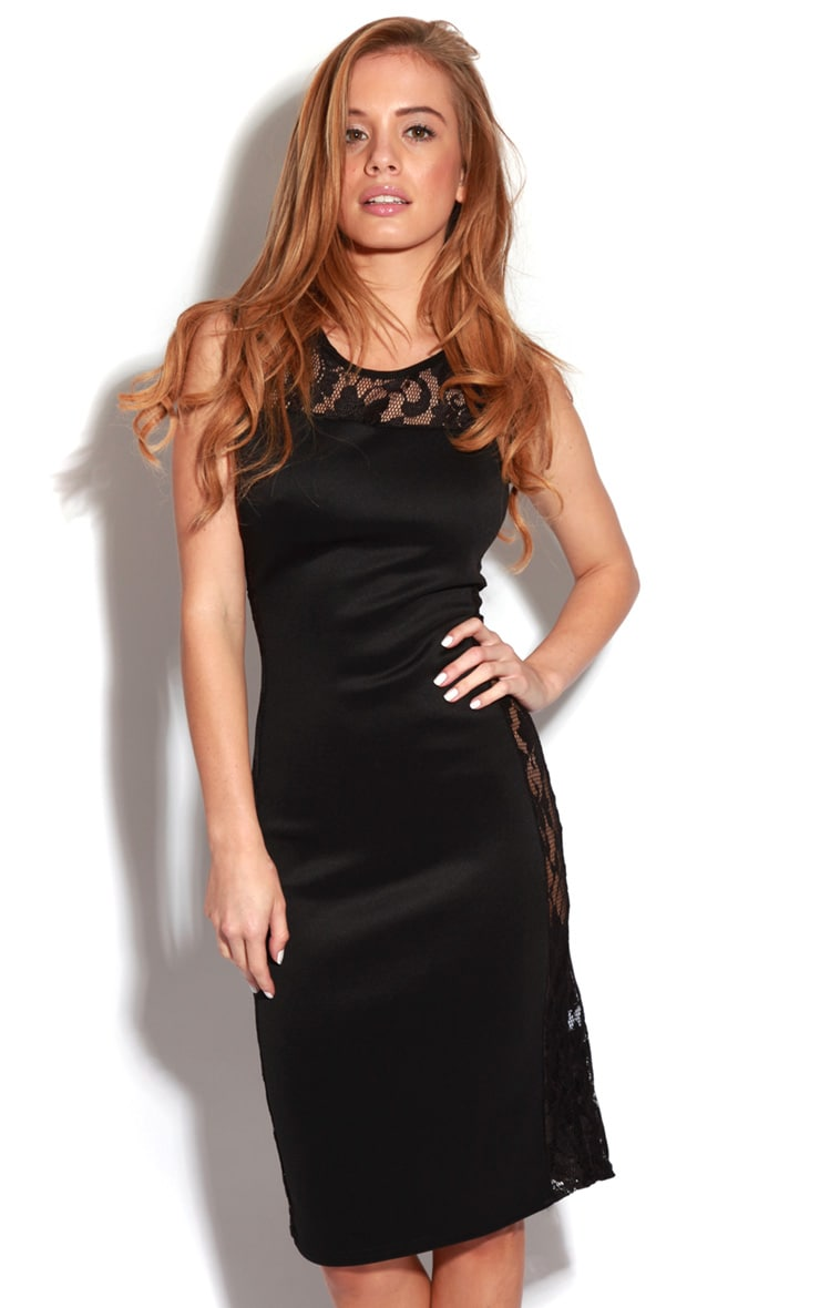 Gabriel Black Lace Side Panel Bodycon Dress 1