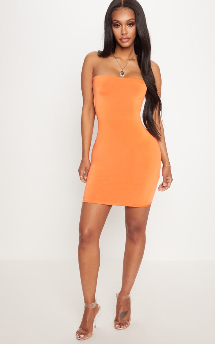 Shape Orange Slinky Lace Up Back Bodycon Dress 4