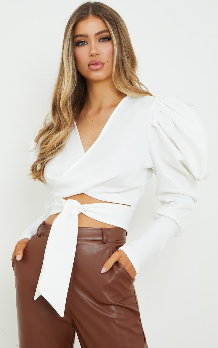 White Scuba Extreme Puff Sleeve Tie Front Blouse 1