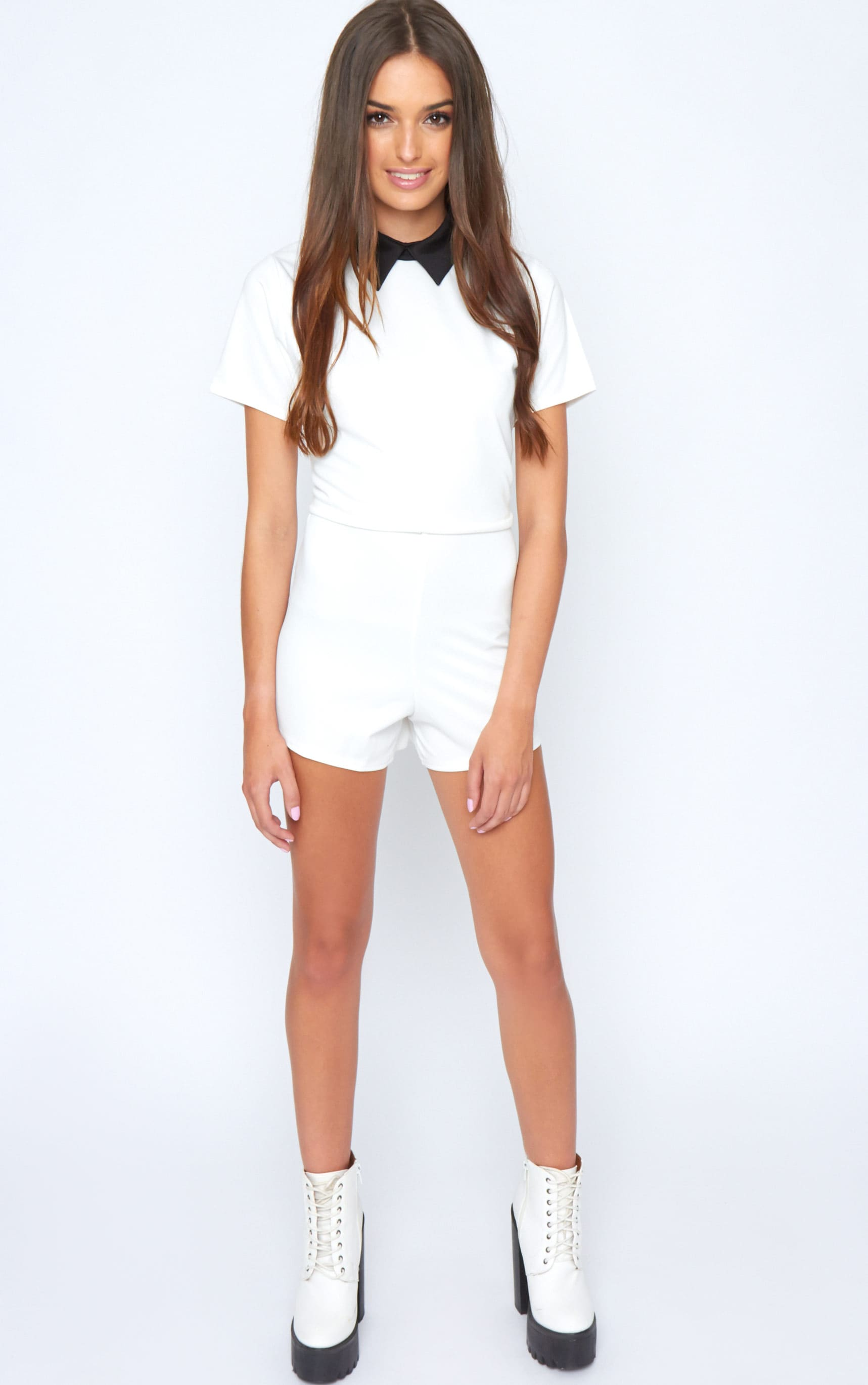 Edie White Playsuit With Black Collar Detail-M/L 4