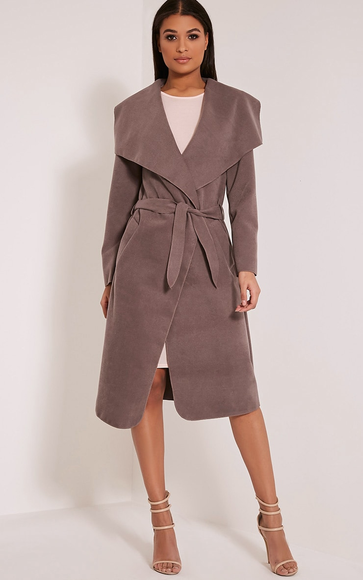 Veronica Latte Oversized Waterfall Belt Coat 5