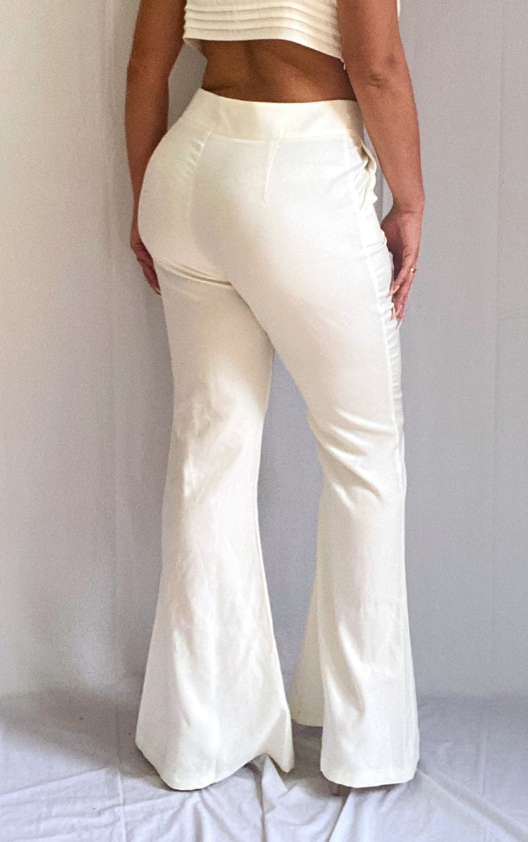 Plus White High Waisted Double Button Waist Flare 3