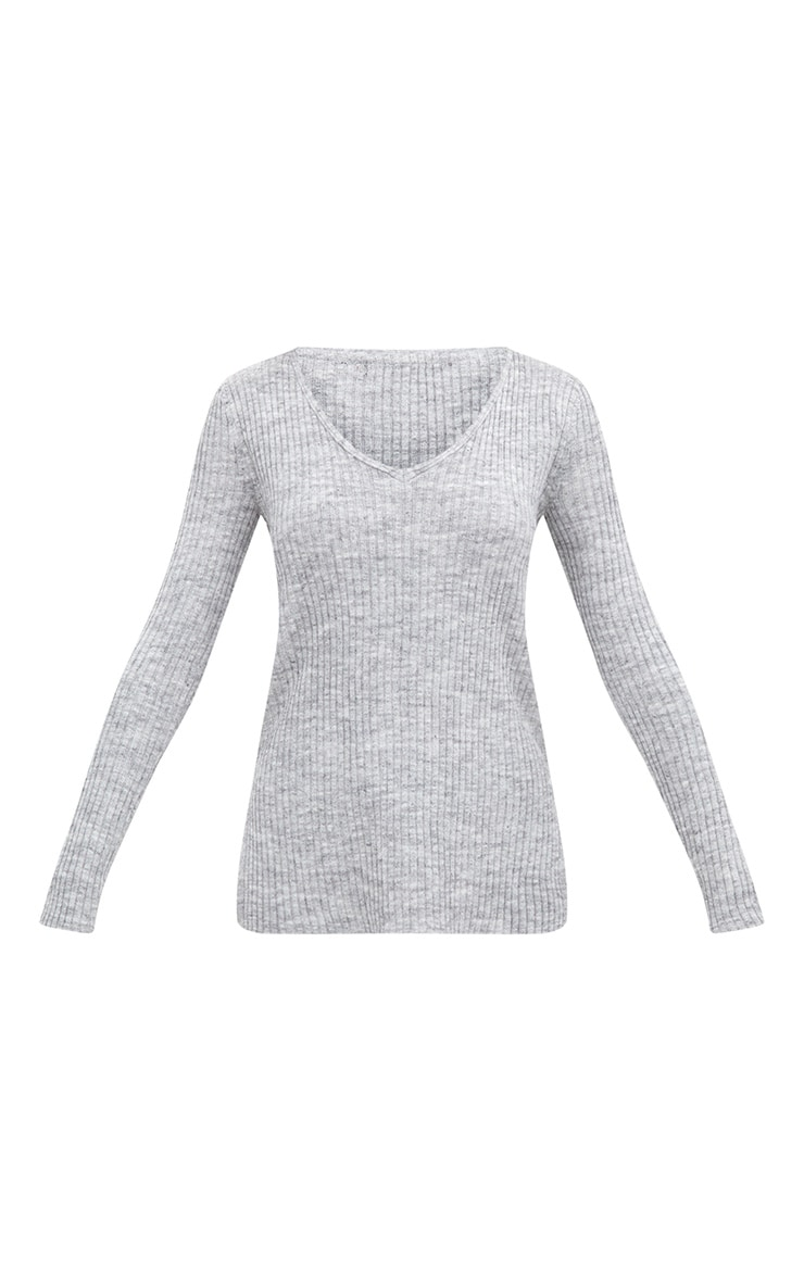Grey Rib V Neck Jumper 3