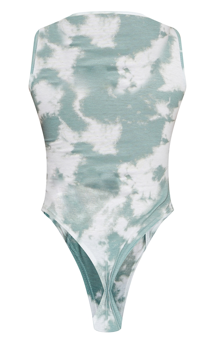 Sage Green Acid Wash Overlock Seam Sleeveless Bodysuit 6