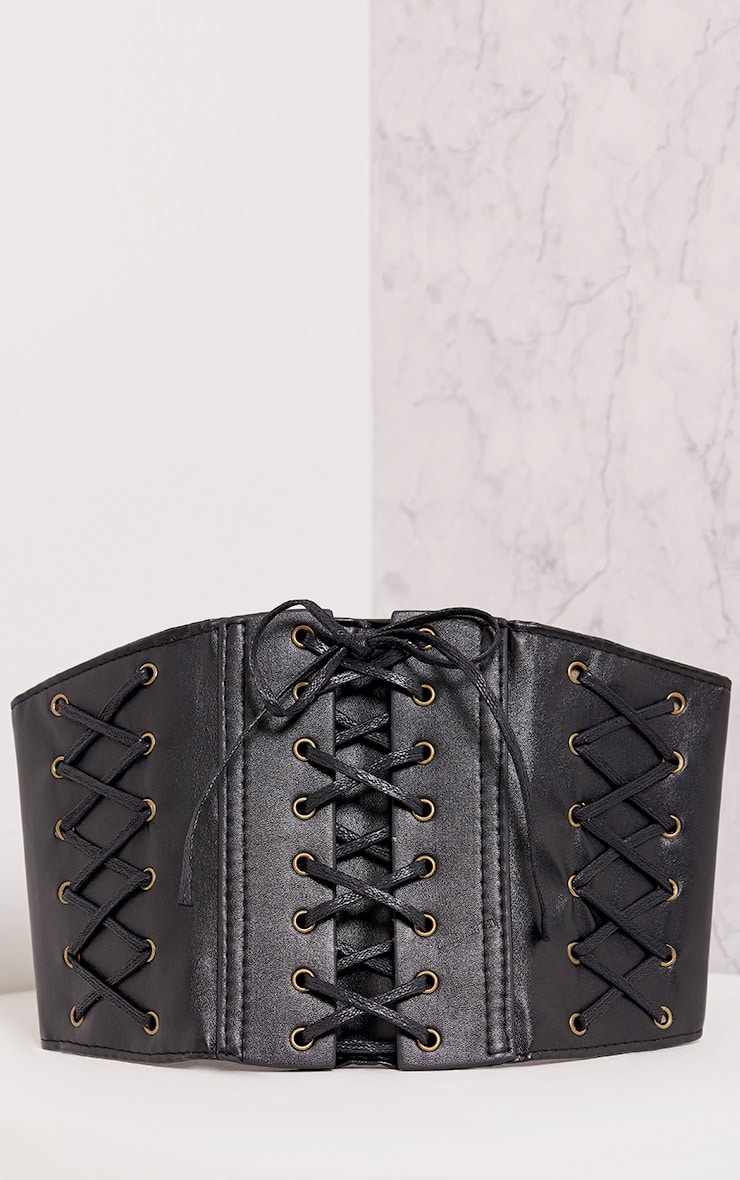 Winea Black Lace Up Detail Corset Style Belt 3