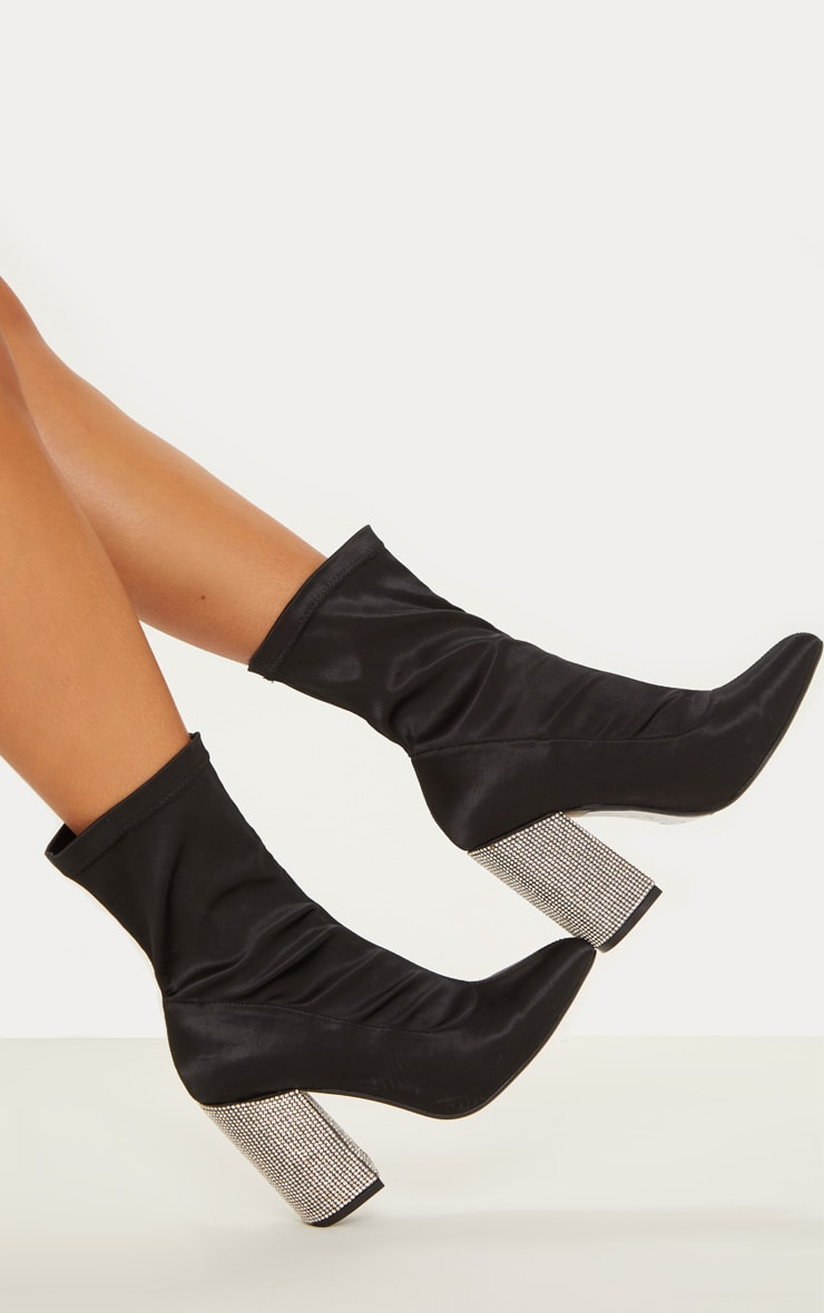 Black Lycra Diamante Heel Sock Boot 2