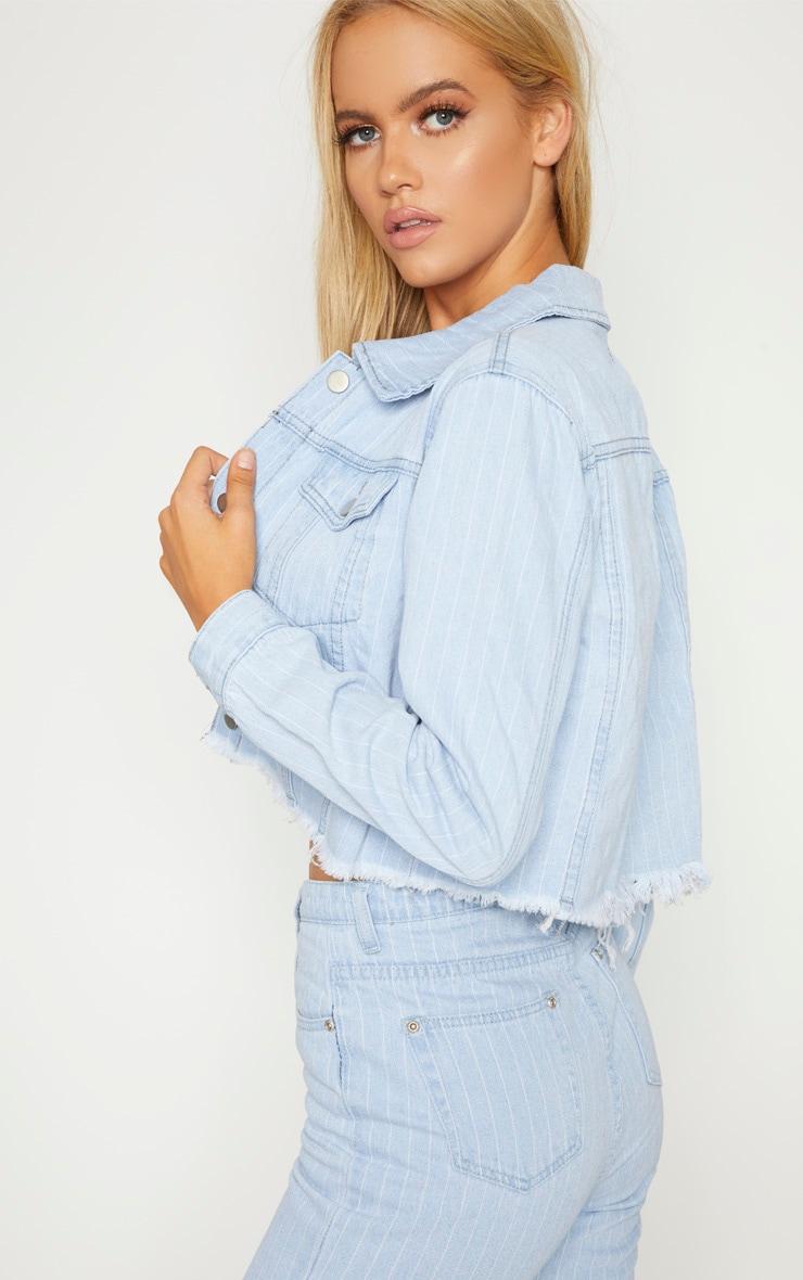 Light Wash Stripe Denim Jacket  2