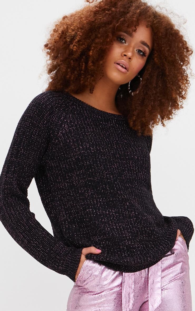 Black Lurex Knit Metallic Jumper 1