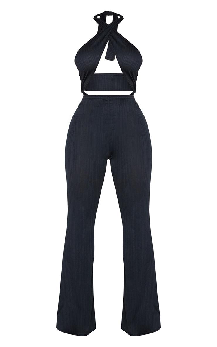 Shape Black Textured Rib Wrap Neck Wide Leg Jumpsuit 5