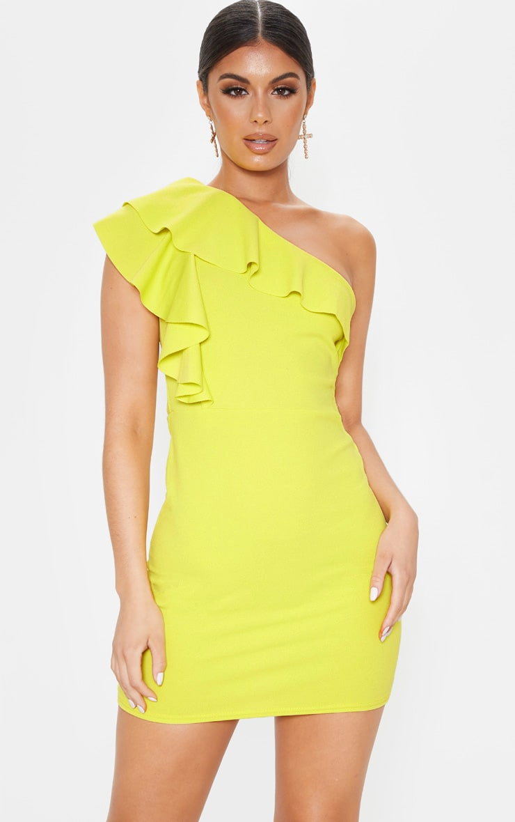 Chartreuse One Shoulder Frill Detail Bodycon Dress 4