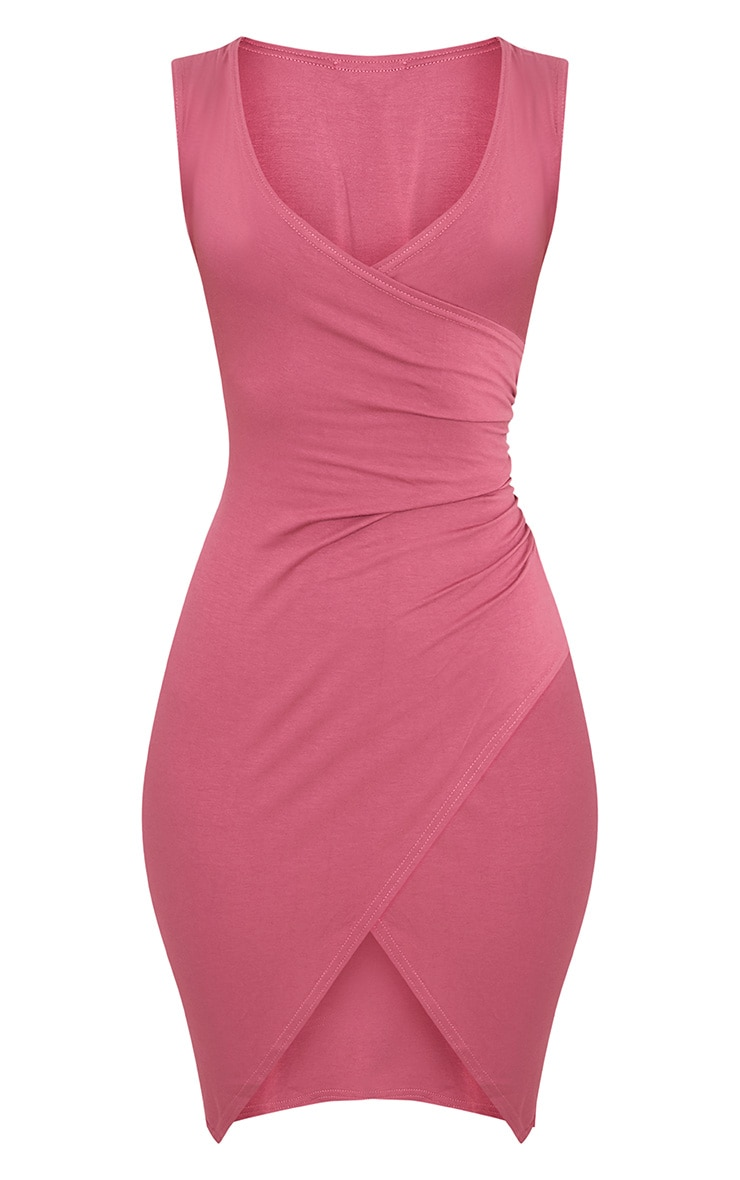 Kendi robe mini cache-cœur sans manches rose 3