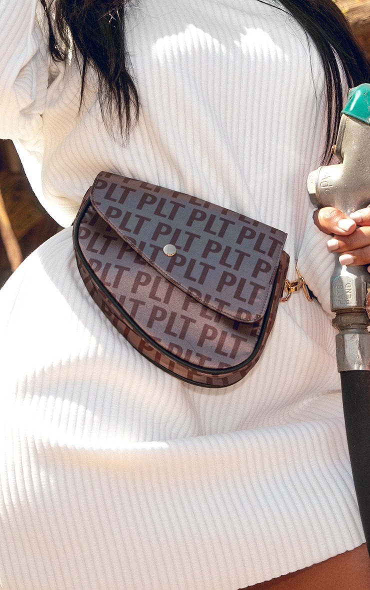 PRETTYLITTLETHING Brown Logo Asymetric Fanny Pack 1