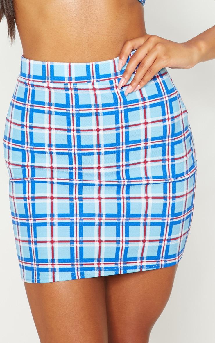 Blue Checked Print Mini Skirt 5