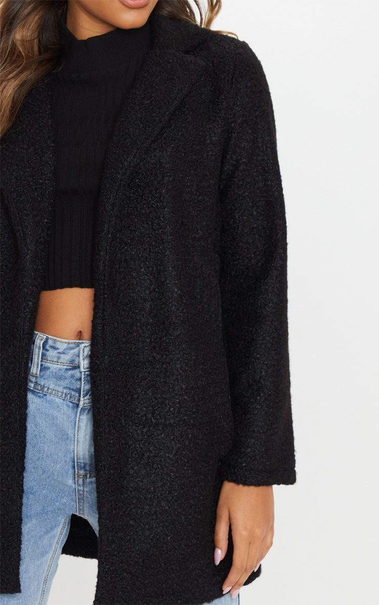 Black Textured Longline Coat 5