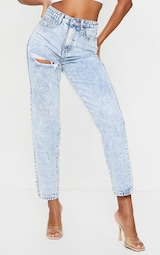 PRETTYLITTLETHING Acid Blue Wash Thigh Ripped Mom Jeans 2