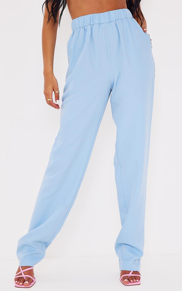 Tall - Pantalon évasé bleu à taille élastique 2
