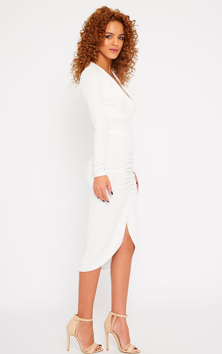 Zoey Cream Ruched Midi Dress 4