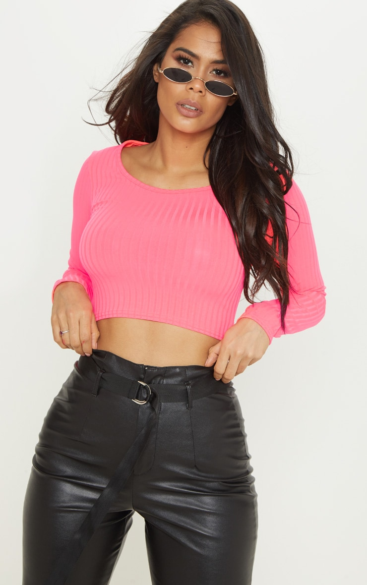 Neon Pink Scoop Neck Long Sleeve Crop Top