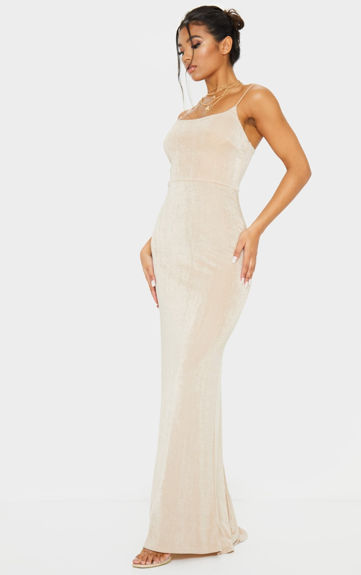 Nude Textured Slinky Strappy Maxi Dress 3